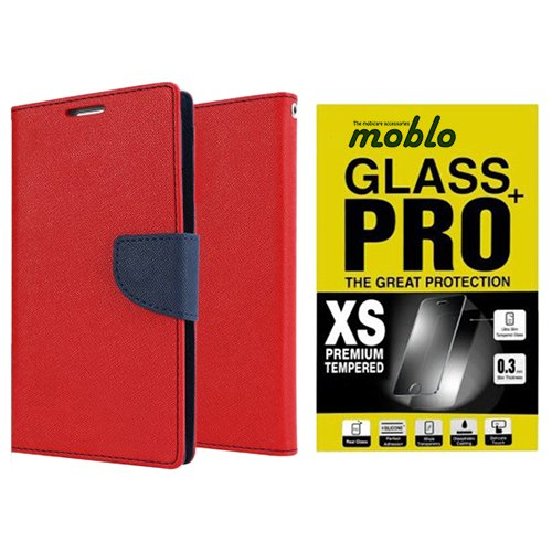Moblo Flip Cover Red Blue & Tempered Glass cover for Lenovo A 6000 Plus