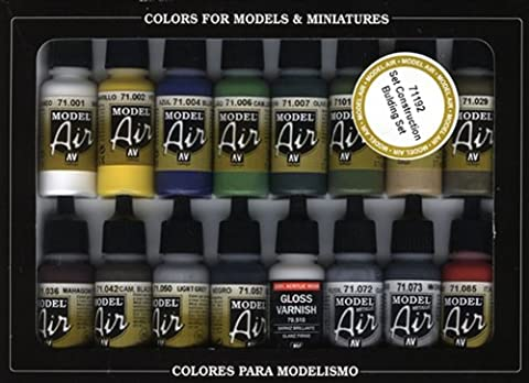 Vallejo Model Air Building Acrylic Paint Set for Air Brush - Assorted Colours (Pack of 16)