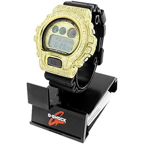 Digital G Shock DW6900 Orologio da uomo in oro giallo 14 k, con diamanti da laboratorio, in resina, colore: