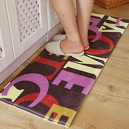 A.B Crew Moderne Küche Boden Teppich waschbar Bad Teppich Küche rutschfeste Läufer Teppich, Polyester, Welcome, 17.72