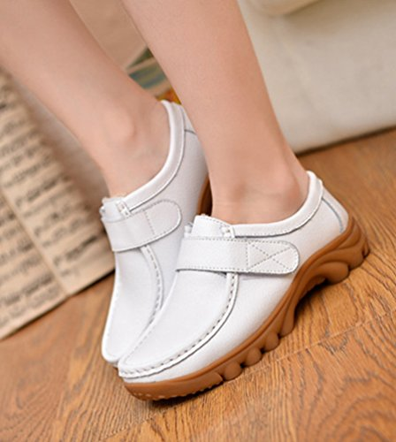 Y En Confort Zapatos Oficina 2 Engrosar Yiiquan Las Carrera Velcro De Podrían Mujeres Ocasional Cuero Blancos El Resbalón Mocasín qA0fxtf