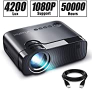 """ELEPHAS Projector, GC333 Portable Projector with 4500 Lumens and Full HD 1080p, 180"""" Display and 50000 Hours L"""