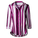 MRULIC Damen Shirt Tie-Bow Neck Striped Langarm Spleiß Bluse Gestreift Damen Tragen(Z2-Rosa,EU-48/CN-4XL)
