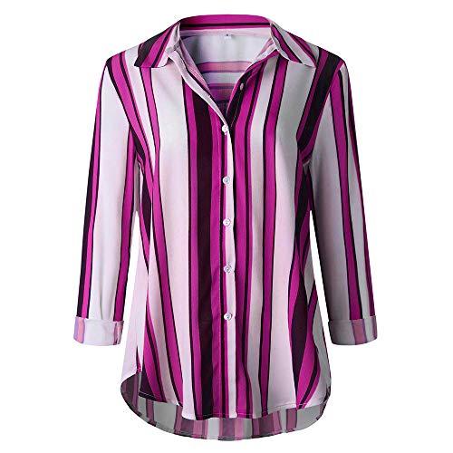 MRULIC Damen Shirt Tie-Bow Neck Striped Langarm Spleiß Bluse Gestreift Tragen(Z2-Rosa,EU-40/CN-L) -