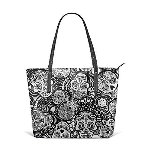 Damen Schultertasche aus weichem Leder Mexican Sugar Skulls Schwarz und Weiß EXTRA SMALL Fashion Handtaschen Satchel Purse