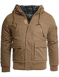 Young & Rich Herren Winter Jacke mit Kapuze slimfit gefüttert 812-4003, Grösse:M;Farbe:Braun