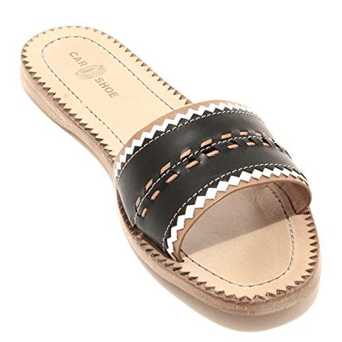 92970 ciabatta CAR SHOE scarpa sandalo donna shoes women Bianco/Nero
