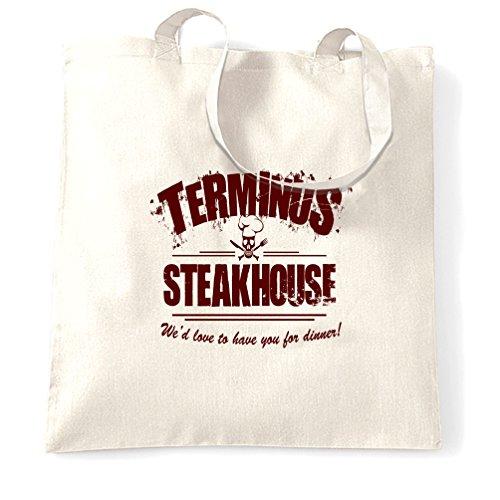 Steakhouse Terminus Camminare Morto Geek Nerd Druckbild Tragetasche Bianco