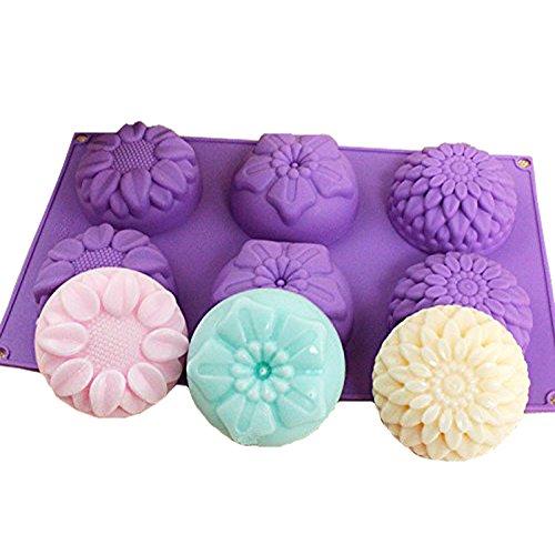 E2o home sapone stampi in silicone 6forme di fiori misti per sapone fai da te