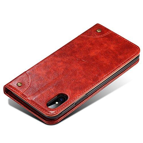 iPhone X coque, Belk Rétro Vintage flip coque de téléphone en cuir [Béquille] [Slot pour carte] [Fermeture magnétique] baroque classique snap pour iPhone X rouge
