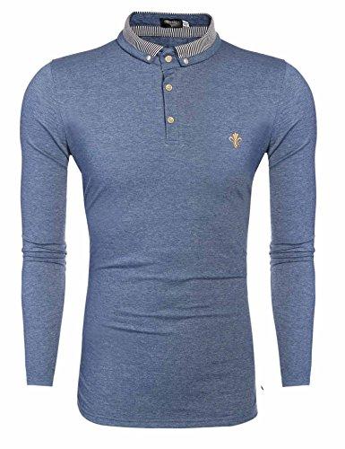 Coofandy Tempo libero Sport monocromatico Polo Shirt T-shirt manica lunga da uomo