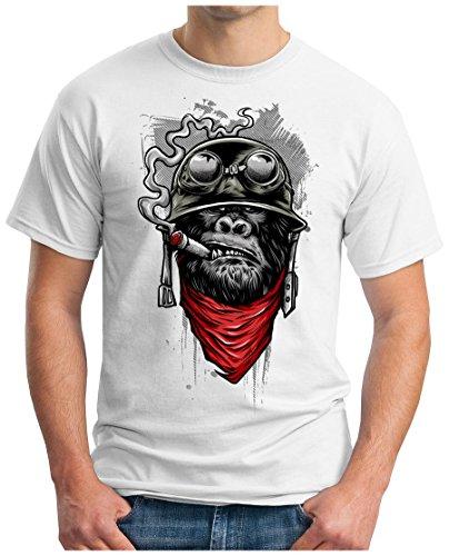 OM3 Gorilla-of-Duty - T-Shirt Smoking Monkey Biker Ape MC Rocker Motor Army Navy War Swag Weiß