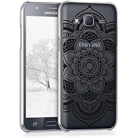 kwmobile Elegante y ligera funda Crystal Case Diseño mandala floral para Samsung Galaxy J5 (2015) en negro transparente