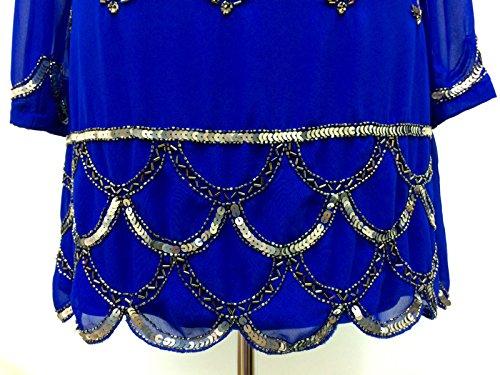 Femmes Années 1920 Style Vintage Costume Charleston Gatsby Abbaye Frange En Perles Et Sequin Robe Droite Bleu roi