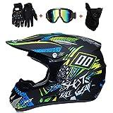 WanSheng Casques de Moto-Cross & Masque Coupe-Vent & Gants & Goggles D.O.T Casque de...