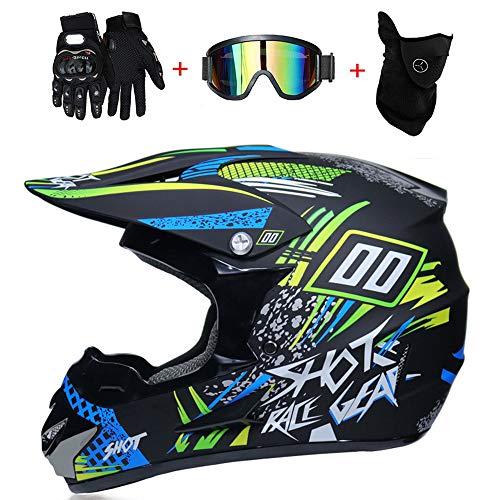 Shfmx Motocross Helm Erwachsenen ATV Helm Roller Helm Männer Und Frauen Geschenk Brille Handschuhe Maske,M