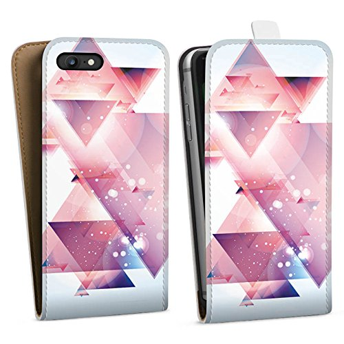 Apple iPhone X Silikon Hülle Case Schutzhülle Dreiecke Galaxie Muster Downflip Tasche weiß