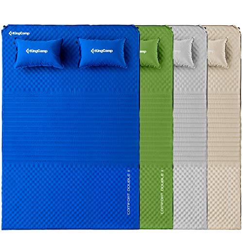 KingCamp Doppel Isomatte Selbstaufblasbare Campingmatratze mit 2 Selbstaufblasenden Kissen für Camping Outdoor, Super Komfort für 2 Personen, 198 × 130 × 4 cm, Grau