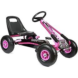 """bopster- Coche De Pedales """"Go-Kart"""" Con Ruedas Hinchables 5-8 Años- Rosa"""