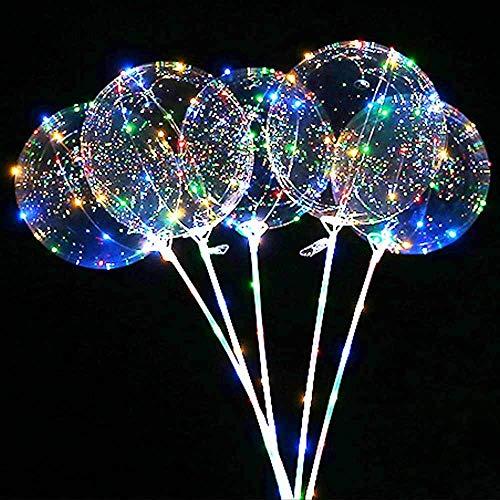 Erosion 5 Stück LED leuchten Bobo Luftballons, Latex klar transparent runde Blase Bunte Flash String Dekorationen Hochzeit Zimmer Hof Kinder Geburtstag Party Set Glow Weihnachtsdekor
