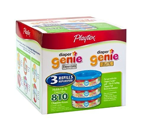 Playtex Diaper Genie Refill (810 count total - 3 pack of 270 each) by Playtex (English Manual)