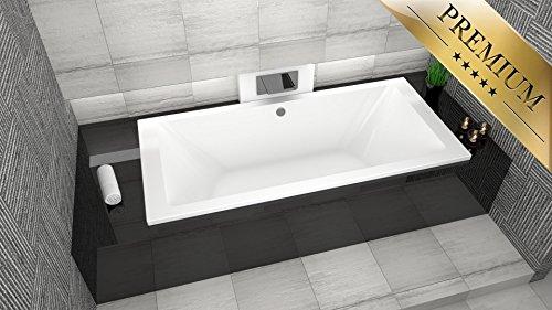PREMIUM Rechteck Badewanne Acryl BORNEO 200x90 cm - Füßen, Ablaufgarnitur McAlpine 100 cm, Silikon GRATIS