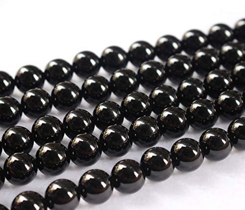 Gros perles en agate noire naturelle, 2 mm, 4 mm, 6 mm, 8 mm, 10 mm, 12 mm, 14 mm, 16 mm, perles en onyx noir lisse et ronde. 16mm,24pcs