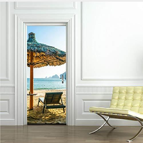Fqz93in Strandschirme Tür Dekoration Abnehmbare Tür Wandaufkleber Für Wohnzimmer PVC Wasserdichte Tür Aufkleber Murals Home Decor