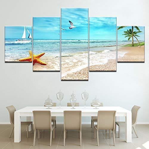 jjshily Uccelli marini e Yacht in Mare Paesaggio Marino 5 Pezzi Tela sfondi Moderni Modulari Poster Pittura su Tela per Living Room Decor, 40X100