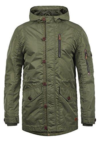 Blend Luxus Herren Übergangsparka Parka Mantel Lange Jacke Mit Kapuze, Größe:XXL, Farbe:Jungle Green (77196) Herren Parka Mäntel