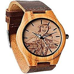 Reloj de Madera Personalizado Personalizado del Presente del día del Padre Agregue Cualquier Foto y Grabe Cualquier Texto