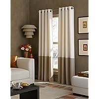 Curtainworks Kendall Color Block Grommet Curtain Panel 120 inch Off-White 1Q80370CIV
