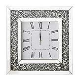 RICHTOP Reloj De Pared Grande Cuadrado Espejo Diseño de Diamantes, Casi Silencioso Cuarzo Relojes de La Pared para Cocina, Sala Estar,hogar, Oficina diá 50 cm Plata (NO batería)