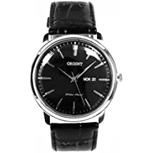 Orient Men's 43mm Black Calfskin Stainless Steel Case Quartz Watch FUG1R002B6