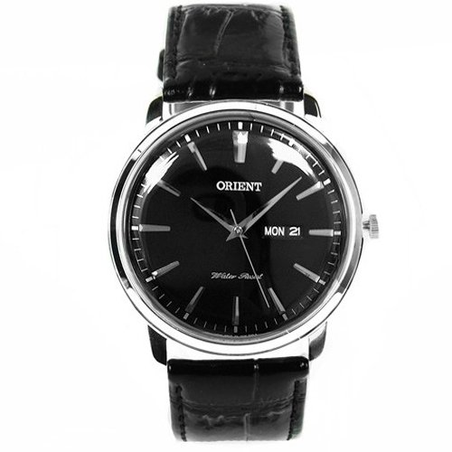 Orient FUG1R002B6 43mm Stainless Steel Case Black Calfskin Mineral Men's Watch