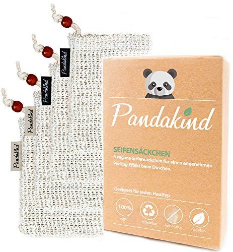 *Frankfurter Start-Up* Pandakind® [4x] Seifensäckchen - verbesserte Version - (inkl. s/w- Labels zum Unterscheiden) - 100% natürliches Körper-Peeling