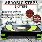 Adjustable Aerobic Stepper Board (Black & Neon Green, 78cm - Adjustable)