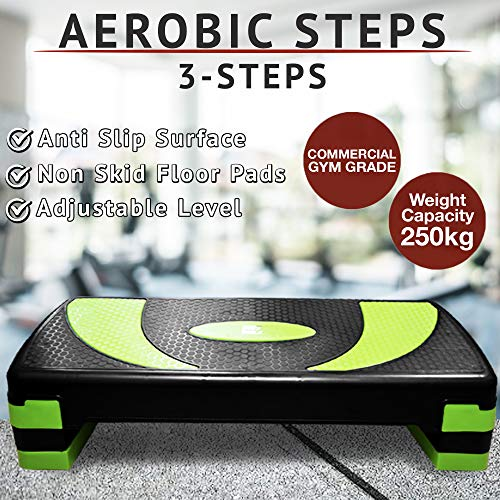 Aerobic-Stepper/Stepper für Fitnessstudio, Yoga, 3 Ebenen, Höhe 10 cm, 15 cm, 20 cm, Black & Neon Green, 78cm - Adjustable