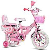 Geekbot Kind Mädchenfahrrad 12 Zoll - Kind 3-6 Jahre Alt - aufblasbarer Reifen - Bequemer Sitz - Klein Verdrahtet - weiß Reifen Prinzessin Fahrrad