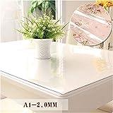 PVC-Tischdecke, Wasserdichtes Anti-Hot-Glas, Kunststoff, Couchtischsets, Weiche Tischdecke 2.0MM,80 * 120Cm