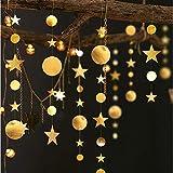 Queta 3x4m Sterne Runde Girlande Wunderschöne Papier Girlande Goldene Sterne Runde Bunting Banner Hangedekoration für Fenster,Wand,Kinderzimmer,Party,Geburtstag,Hochzeit,Weihnachten