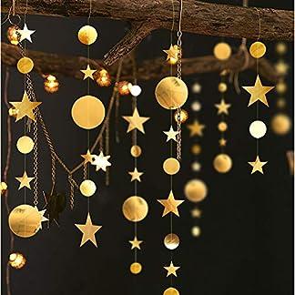 Queta Estrellas Guirnaldas de Papel Decoracion Fiestas, 4m Guirnalda Preciosa de Estrellas Pancartas Doradas para Fiestas, Cumpleaños, Bodas, Navidad (3 pcs)