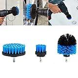 3pcs 2/3.5/4inch set di spazzola per pulizia, multifunzione, per piastrelle spazzola di pulizia, spazzola pulizia per foro di fissaggio per mobili, cucina, pavimenti, mattoni, intonaco, pulizia e molto altro, Blue, Taglia libera