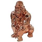 Mendler Figure de décoration Gorille 40cm, polyresin Sculpture, Singe, intérieur/Plein air - cuivre