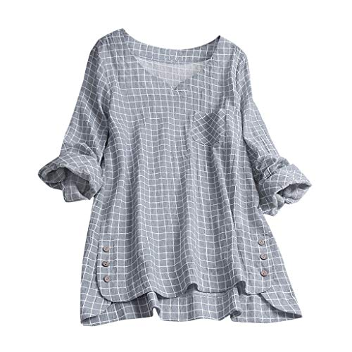 XNBZW Blouse Tops Womens Casual V Neck Loose Linen Plus Size Plaid Button Tanic Shirt Summer T Shirt Tank Vests Embellished Sundress