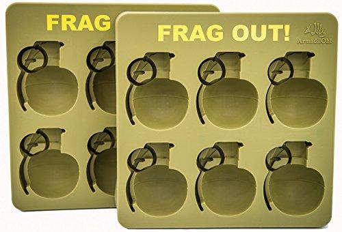 Grenade Ice Cube Form Tablett Silikon Grün 17cm x 17cm x 6cm 2Pack kommt mit Edelstahl Flaschenöffner (Granate Schokolade)