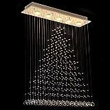 Dst Luminaires de Plafond à Cristaux Liquides Transparents, 5 Lumières pour Salle d'étude / bureau, Salle à Manger, Chambre à Coucher, Salon, Taille 80 centimètre, Largeur 20 centimètre, Hauteur 102 centimètres