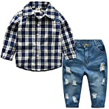 VEVESMUNDO Kinder Junge Jeans Hose Hemd Shirt Anzug Set Bekleidungsset Hochzeit Party 80-140cm (Dunkelblau Karo, Etikett 130/Körpergröße 121-130cm)