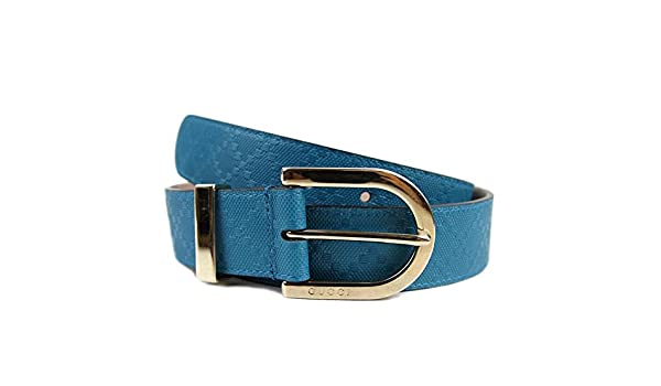 246a467fb1b16 Gucci Women s Diamante Leather Belt 354382 Bright Turquoise Blue (40)   Amazon.co.uk  Clothing