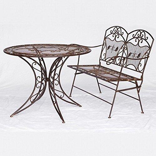 Luxus Pur UG Gartenbank Eisen Balkontisch Gartenmöbel Set 2er Balkon Terrasse Wintergarten